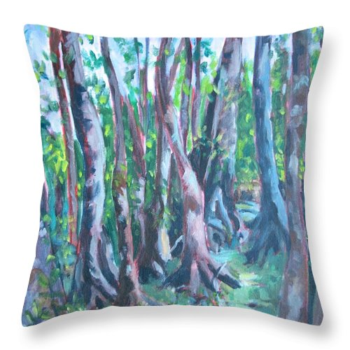 Cypress Trees Throw Pillow featuring the painting Cypress Swamp by Jan Bennicoff