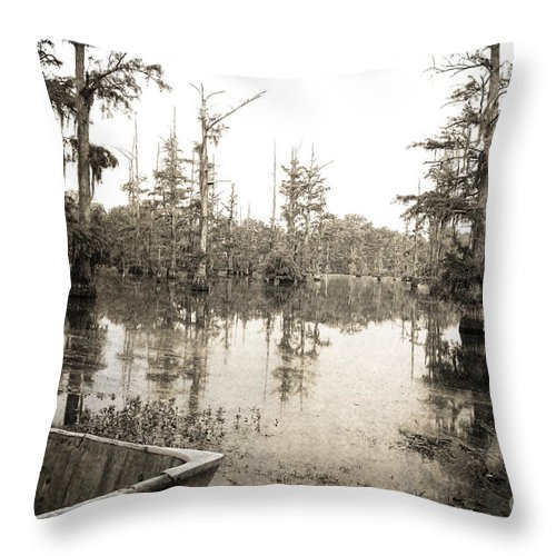 Swamp Throw Pillow featuring the photograph Cypress Swamp by Scott Pellegrin