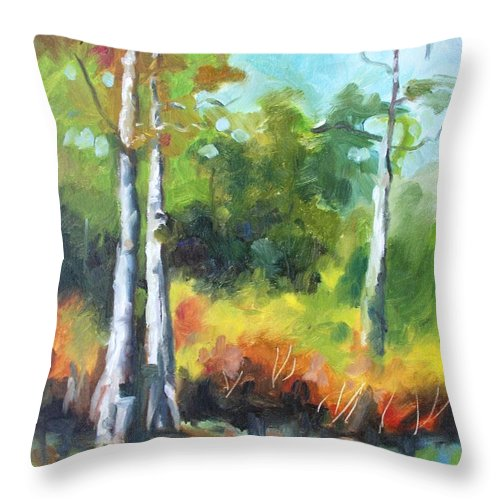 Nature Throw Pillow featuring the painting Cypress Trees by Jan Bennicoff