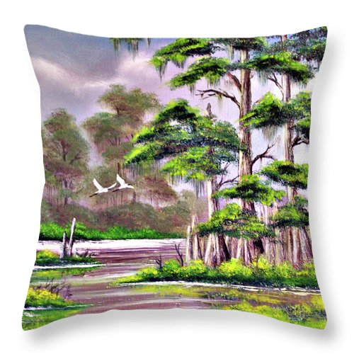 Cypress Throw Pillow featuring the painting Cypress Trees-wakulla River Florida by Bill Holkham