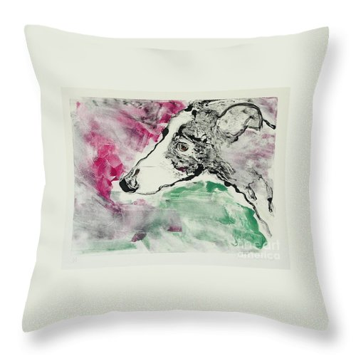 Greyhound Throw Pillow featuring the painting Cyrus by Cori Solomon
