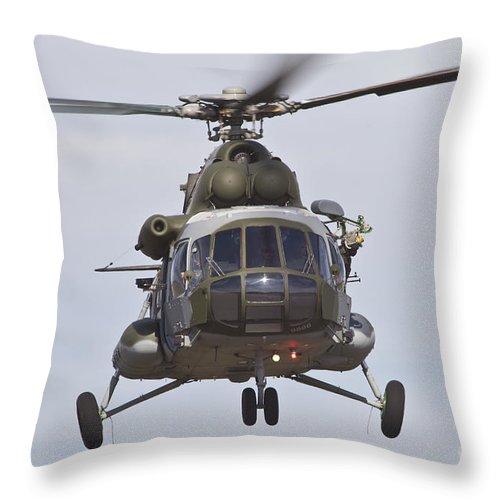 Czech Republic Throw Pillow featuring the photograph Czech Air Force Mi-171 Hip Helicopter by Timm Ziegenthaler