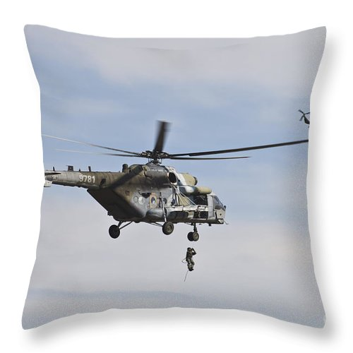 Czech Republic Throw Pillow featuring the photograph Czech Air Force Mi-171 Hips Training by Timm Ziegenthaler