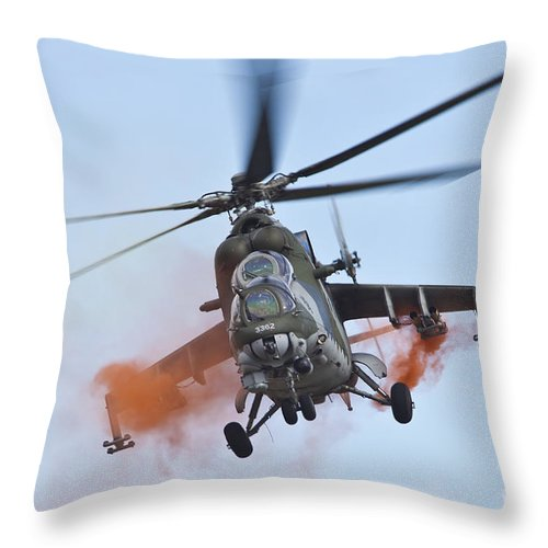 Czech Republic Throw Pillow featuring the photograph Czech Air Force Mi-35 Hind Helicopter by Timm Ziegenthaler