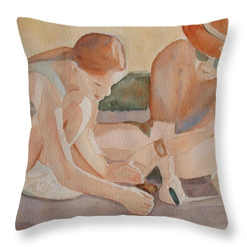 Girl Throw Pillow featuring the painting Daddy's Magnifying Glass by Jenny Armitage