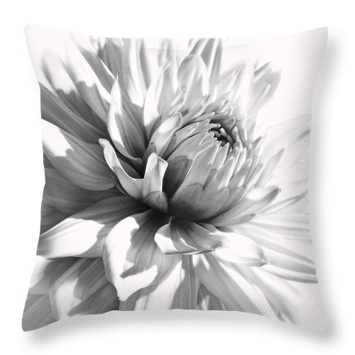 Dahlia Throw Pillow featuring the photograph Dahlia Flower In Monochrome by Jennie Marie Schell