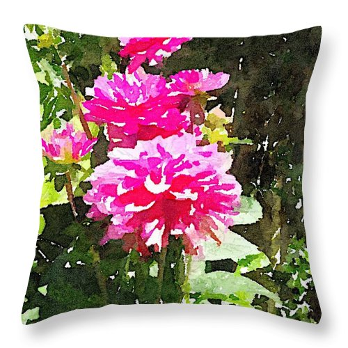 Waterlogue Throw Pillow featuring the digital art Dahlias by Shannon Grissom