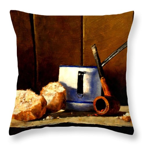 Still Life Throw Pillow featuring the painting Daily Bread Ver 1 by Jim Gola