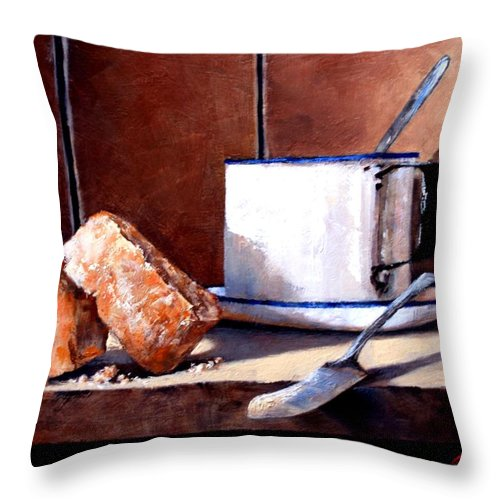 Still Life Throw Pillow featuring the painting Daily Bread Ver 2 by Jim Gola