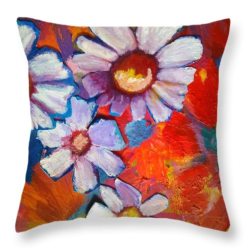 Floral Throw Pillow featuring the painting Daisies and Strawberries 2014 by Sidra Myers