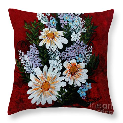 Barbara Griffin Throw Pillow featuring the painting Daisies Lilacs And Forget Me Nots by Barbara Griffin