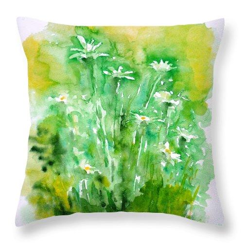 Daisies Throw Pillow featuring the painting Daisies by Zaira Dzhaubaeva
