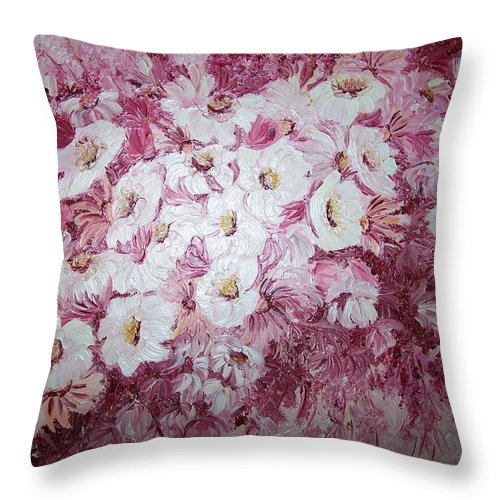 Throw Pillow featuring the painting Daisy Blush by Karin Dawn Kelshall- Best