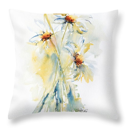 Stephie Throw Pillow featuring the painting Daisy Bouquet by Stephie Butler