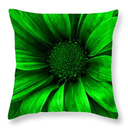 Daisy Throw Pillow featuring the mixed media Daisy Daisy Neon Green by Angelina Tamez