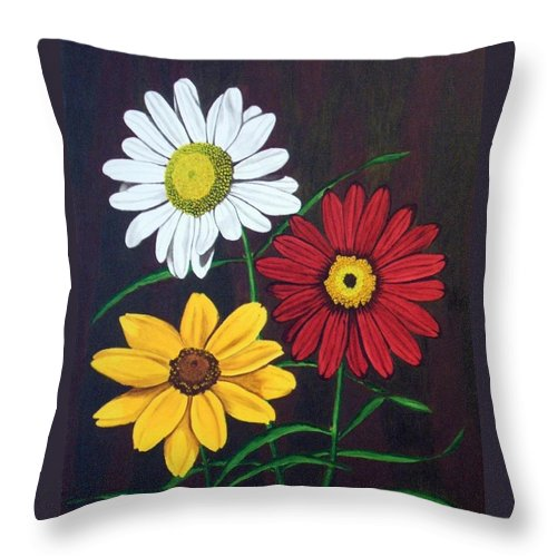 Daisy Flowers Throw Pillow featuring the painting Daisy Mae by Brandy House