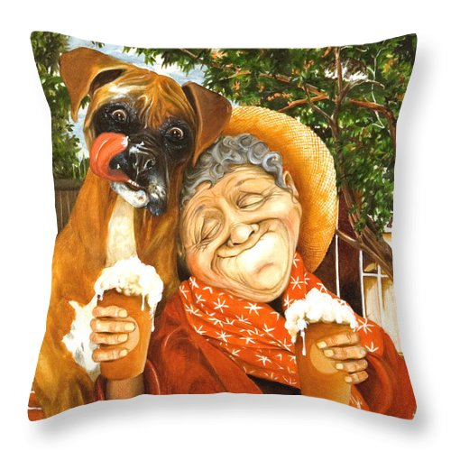 Boxer Throw Pillow featuring the painting Daisy's Mocha Latte by Shelly Wilkerson