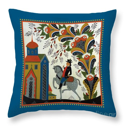 Throw Pillow featuring the painting Dala Rider by Leif Sodergren