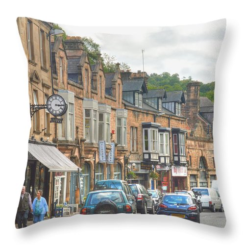Dale Road Matlock Throw Pillow featuring the photograph Dale Road - Matlock by Sarah Couzens