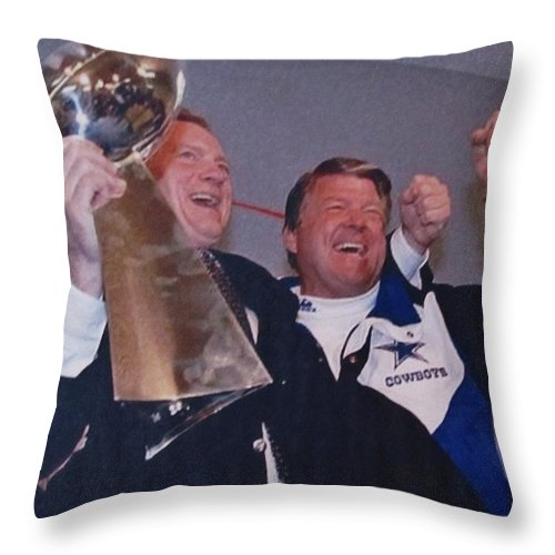 Dallas Cowboys 1992 Nfl Champions Throw Pillow featuring the photograph Dallas Cowboys 1992 National Football League Champions by Donna Wilson