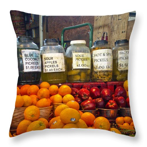 Dallas Throw Pillow featuring the photograph Dallas Farmers Market - Pickels? by Allen Sheffield