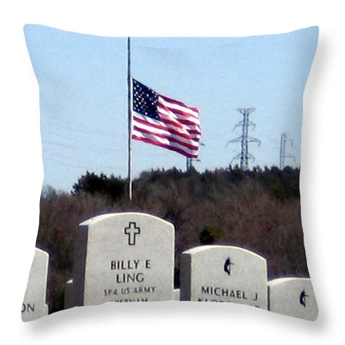 Military Throw Pillow featuring the photograph Dallas Fort Worth Memorial Cemetery by Amy Hosp
