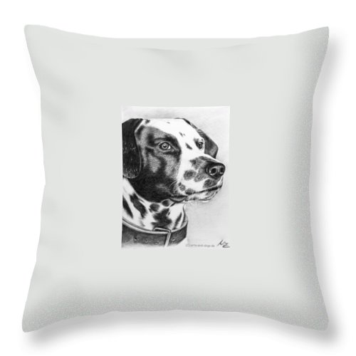 Dog Throw Pillow featuring the drawing Dalmatian Portrait by Nicole Zeug