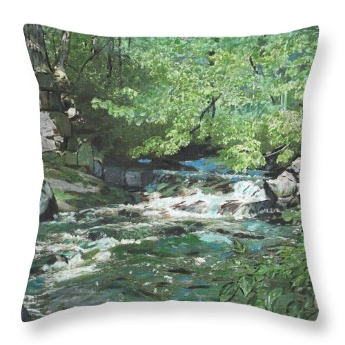 River Throw Pillow featuring the painting Dam Site by Cliff Wilson