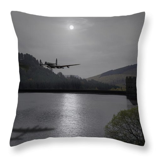 Dambusters Lancaster Throw Pillow featuring the photograph Dambusters Lancaster At The Derwent Dam At Night by Gary Eason