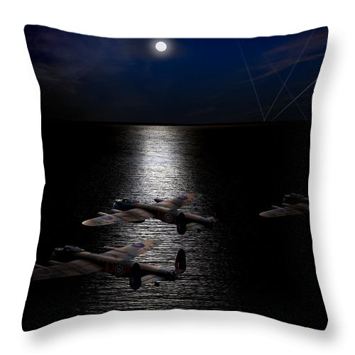 Dambusters Throw Pillow featuring the photograph Dambusters North Sea Crossing by Gary Eason