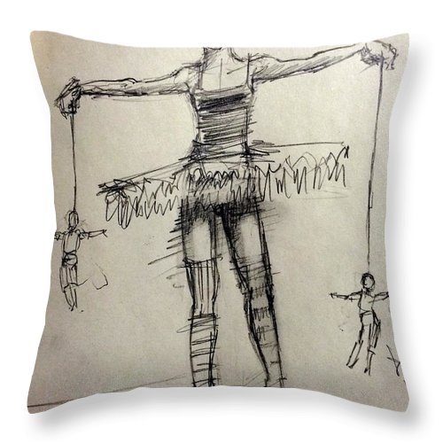 Ballerina Throw Pillow featuring the drawing Dance/dance by H James Hoff