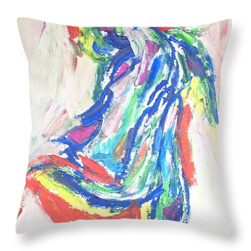 Dance Of The Rainbow Throw Pillow featuring the painting Dance Of The Rainbow by Esther Newman-Cohen