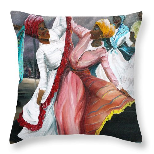 Dancers Folk Caribbean Women Painting Dance Painting Tropical Dance Painting Throw Pillow featuring the painting Dance The Pique 2 by Karin Dawn Kelshall- Best