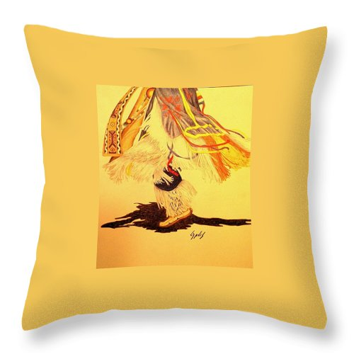 Dancer Throw Pillow featuring the drawing Dancer's Feet 2 by Lew Davis