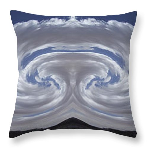 Surreal Throw Pillow featuring the photograph Dancing Clouds 2 Panoramic by Mike McGlothlen