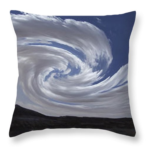 Cloud Formations Throw Pillow featuring the photograph Dancing Clouds 3 Panoramic by Mike McGlothlen