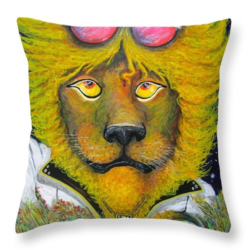 Serengeti Throw Pillow featuring the mixed media Dancing King Of The Serengeti Discotheque by John Foss