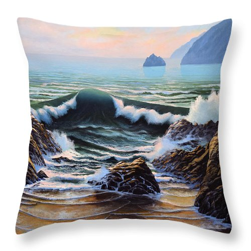 Seascape Throw Pillow featuring the painting Dancing Tide by Frank Wilson