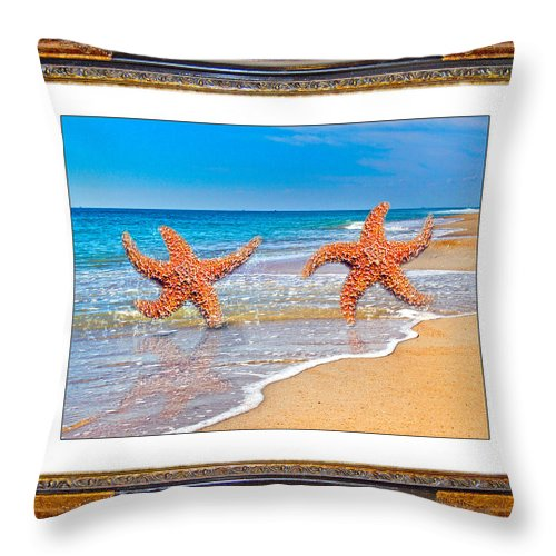 Beach Throw Pillow featuring the mixed media Dancing To The Beat Of The Sea by Betsy Knapp