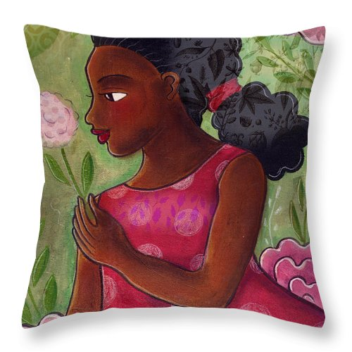 African American Throw Pillow featuring the mixed media Dandelion by Elaine Jackson