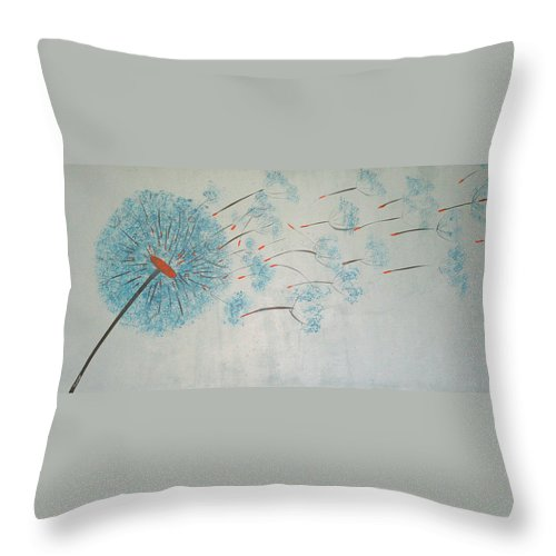 Dandelion Throw Pillow featuring the painting Dandelion by Maura Satchell