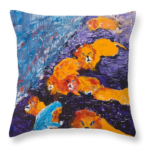 Jewish Art Throw Pillow featuring the painting Daniel And The Lions by Walt Brodis