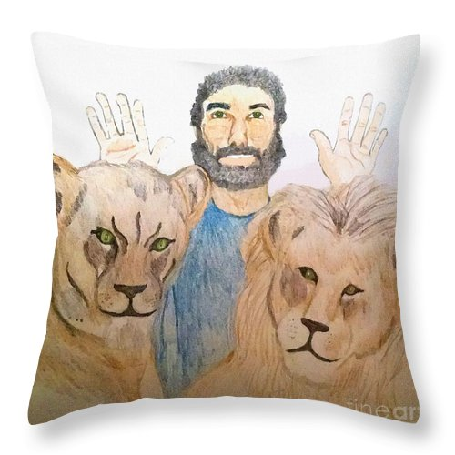 Daniel In The Lions' Den Throw Pillow featuring the painting Daniel in the Lions' Den by Pharris Art