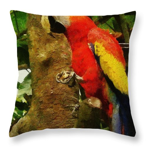 America Throw Pillow featuring the painting Danse Macaw by Jeffrey Kolker