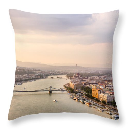 Orange Throw Pillow featuring the photograph Danube Sunset by Pati Photography