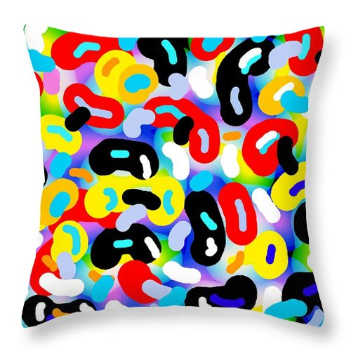 Digital Techno Abstract Expressionist Print Throw Pillow featuring the painting Danzas Africanas by Gilbert Joseph Alexander