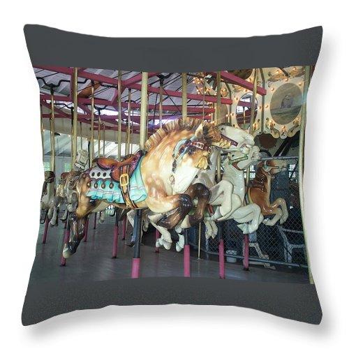 c F Johnson Park Ny Throw Pillow featuring the photograph Dapled Pony by Barbara McDevitt