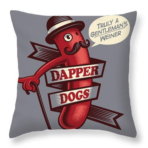 Walking Cane Throw Pillow featuring the digital art Dapperdogs by Leonryan.com