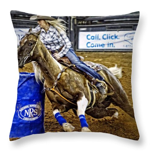 Horse Throw Pillow featuring the photograph Dappled Barrelracer by Alice Gipson