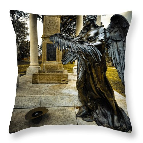 Angel Throw Pillow featuring the photograph Dark Angel by Wayne Sherriff